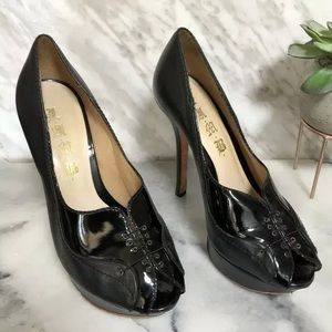 L.A.M.B. Black Leather pumps stiletto heels pinup